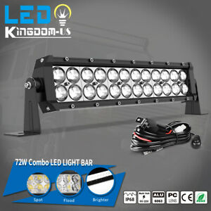 14inch 72w Led Light Bar Work Spot Flood Combo Driving Boat 4wd Atv Wiring Kit