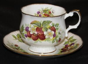Queen S Rosina Fine Bone China Cup And Saucer Strawberry Pattern