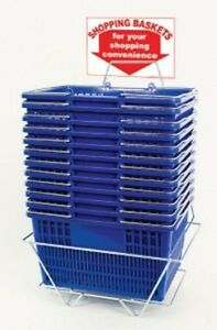 New 12 Standard Shopping Baskets Chrome Handles Metal Stand And Sign Blue