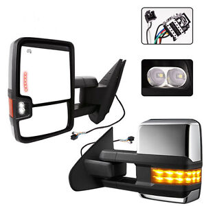 Towing Mirrors Fit For 2007 2014 Chevy Gmc Side Power Heated Led Signal Pair Set