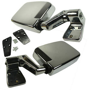 Fit 87 02 Jeep Wrangler Chrome Manual Side View Door Mirrors Left Right Pair Set