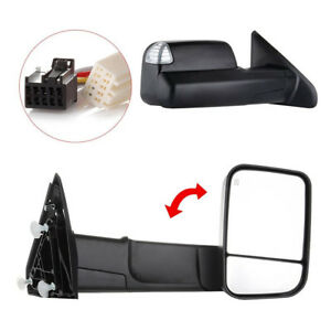 Pair Power Heated Towing Mirrors For 2009 15 Ram 1500 Pickup Signal Lights Side