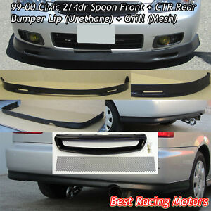 Spn Style Front Lip Pu Ctr Rear Lip Pu Grill Mesh Fit 99 00 Civic 4dr