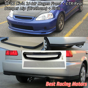 Mu Gen Style Front Pu Ctr Rear Lip Pu Grill Mesh Fit 99 00 Civic 2dr