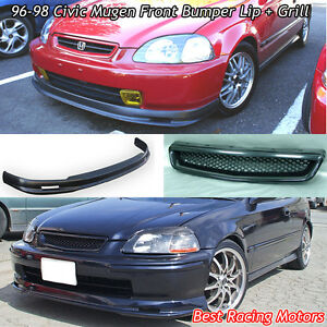 Mu Gen Style Front Bumper Lip Tr Style Grill Abs Fit 96 98 Honda Civic 2dr