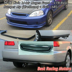 Mu Gen Style Front Pu Ctr Rear Lip Pu Grill Abs Fit 99 00 Civic 4dr