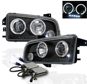 2006 2009 Dodge Charger Black Halo Led Projector Head Lights 8000k Xenon Hid Kit
