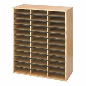 Office Paper Organizer Classroom Employee Mailbox Sorter Storage Shelf Wood Desk