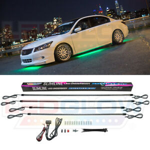 Ledglow 4pc Green Led Slimline Underbody Under Car Neon Glow Light Kit W Switch