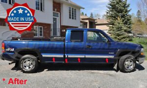 1999 2002 Chevy Silverado 3dr Extended Cab 7pc Long Bed Body Side Molding Trim
