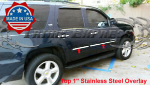 2007 2009 Chevy Tahoe 4pc Body Side Molding Trim Overlay Top 1 Stainless Steel