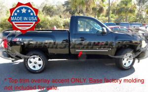 2007 2008 Chevy Silverado Regular Cab Chrome Body Side Molding Overlay Top Trim