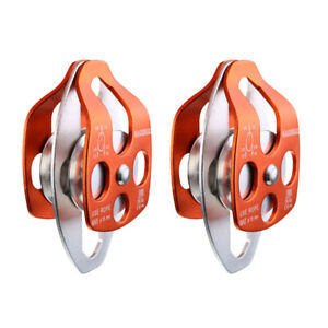 2pcs Aluminum 32kn Mobile Double Pulley For Rope Rescue Tree Climbing