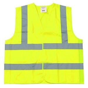50 Pcs Yellow Polyester Fabric Safety Vest Small Class 2 W Reflective Tape