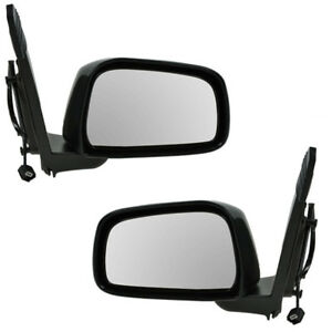Power Black Manual Fold Mirror Left Right Side Pair Set For 05 14 Frontier Truck