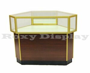 Cherry Jewelry Corner Showcase Display Store Fixture Assembled W light jdcu gold