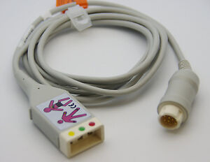Ecg Ekg 12 Pin 3 Leads Trunk Cable With Aa Style Yoke For Philips H p Viridia