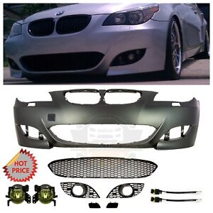 2004 09 Bmw E60 M5 Style Front Bumper W Yellow Amber Fog Lights 5 Series No Pdc