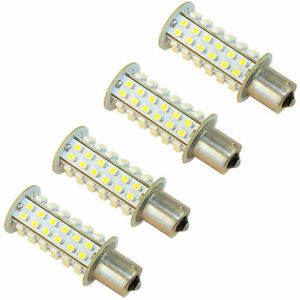 4x Hqrp Ba15s Led 66 smd 1141 1156 Warm White Bulb Car Auto Rv Camper Light Lamp