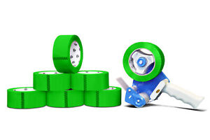 Green Color Packaging Packing Tape 2 X 2 Mil X 110 Yard With Dispenser 6 Rolls