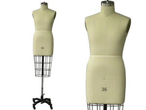 Professional Pro Working Dress Form Mannequin Male Half Size 36 W hip