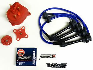 Distributor Cap Rotor Spark Plug Wire Kit For 94 01 Acura Integra B18 Dc Blue C