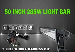 Truck Light Bar Kit 50 Inch 288w Work Fog Driving Suv 4wd Off Road With Wiring