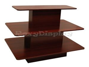 Rectangular 3 Tier Display Table Cherry Color Clothes Racks Stands 3tier60c rk