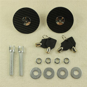 Universal Racing Carbon Fiber Mount Bonnet Hood Latch Pin Key Locking Kit