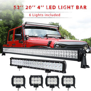 52inch Led Light Bar Combo 20in 4 Cree Pods Offroad Suv 4wd Atv Ford Jeep 50