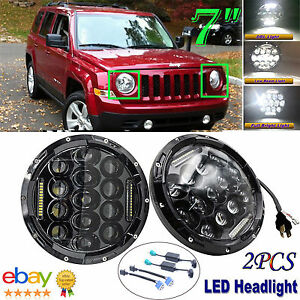 2x 7 Led Headlight Lamp For Jeep Wrangler Jk Lj Tj Cj Fj Patriot Liberty H6024