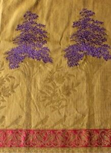 Exquisite French Antique 19th Hand Loomed Bird Tree Gold Metallic Silk Brocade