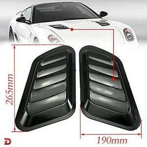 2 X Abs Decorative Intake Scoop Turbo Bonnet Vent Cover Hood Auto