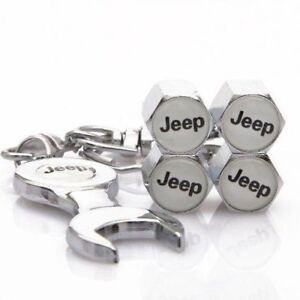 D R Wrench Keychain Chrome Tire Valve Stem Caps For Jeep