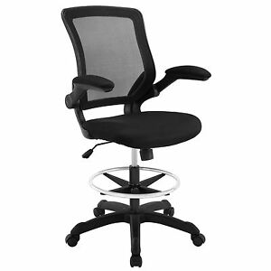 Modway Veer Drafting Stool In Black Reception Desk Chair Tall Office Chair
