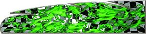 Checkered Racing Flag Green Flame Go Kart Race Car Vinyl Graphic Decal Wrap