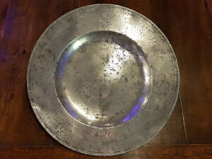 17th Century English Antique Pewter Broad Rim Charger By R Fletcher London C1680