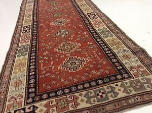 3 8 X 11 6 Antique 1910 Russian Shirvan Oriental Rug Wide Runner Handmade