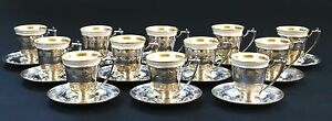 12 Vintage Sterling Silver Demitasse Cups With Saucers Lenox Liners