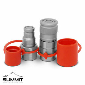 3 8 Flat Face Hydraulic Quick Connect Coupler Coupling Set 1 2 Npt Thread