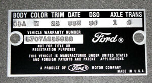 1965 Mustang Falcon Data Plate Stamped With Your Paint Body Color Information