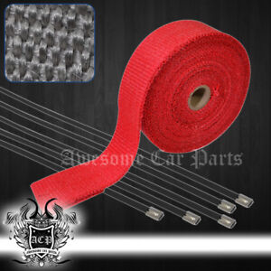 10m Racing Exhaust Intake Turbo Manifold Downpipe Heat Wrap With Zip Ties Red
