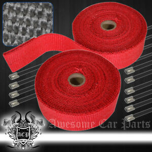 360 30ft Car Bike Moto Exhaust Pipe Header Heat Wrap Roll stainless Tie Set Red