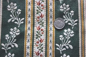 Antique French Silk Brocaded Sample Fabric C1918 1920s Doll Scale Floral Stripe