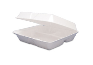 Insulated Foam Hinged 3 Compartment Food Containers Storage Togo Boxes 200 Bulk