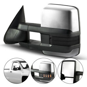 New Left Side Power Operated Heated Chrome Tow Mirror For Chevy Gmc Trucks 03 06