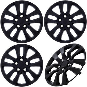 set Of 4 Piece Black Matte Hub Caps Fits Oem 16 Steel Wheel Cover Cap Covers