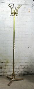 Vintage Modern Style Hall Tree Coat Hat Rack Stand Brass Gorgeous