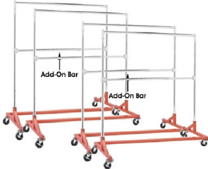 Commercial Grade Double Bar Rolling Z Rack With Nesting Orange Base set Of 4