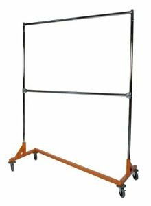 Commercial Grade Double Bar Rolling Z Rack With Nesting Orange Base set Of 2